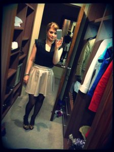 Skirt - unknown (present) Top - Warehouse Shoes - Jessica Simpson for Kurt Geiger Belt & Earrings - unknown (gift)
