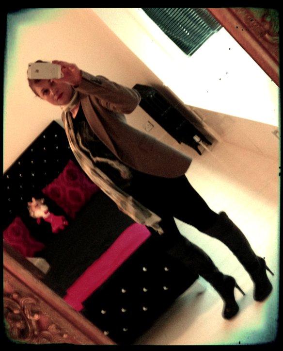 T shirt: Zara Trousers: Oasis Boots: Jessica Simpson for Kurt Geiger Blazer: Zara Scarf: Jaeger