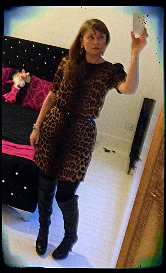 Zara Leopard Print dress  Jessica Simpson Boots