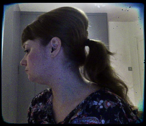 semi beehive with ponytail