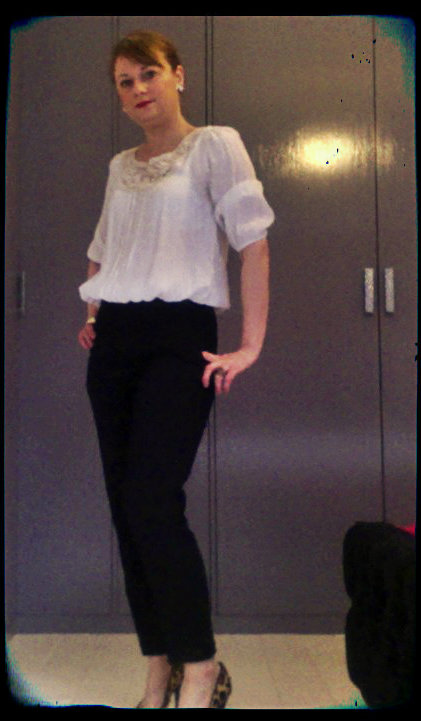 Trousers: H&M Top: Miss Selfridge Shoes: Jessica Simpson for Kurt Geiger