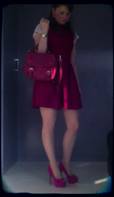dress: Topshop T-Shirt: H&M Shoes: Jessica Simpson for Kurt Geiger Bag: Oasis
