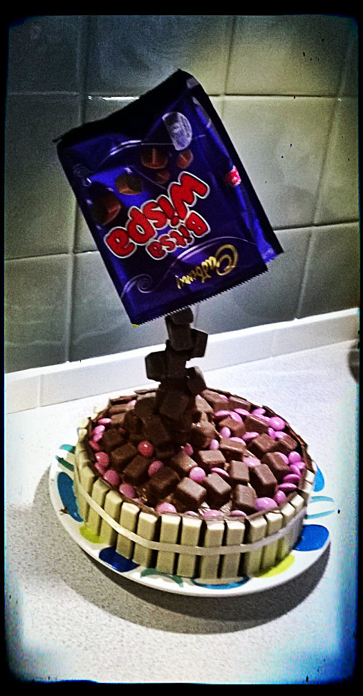 Gravity defying cake for sister's birthday